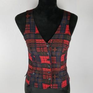 BETSEY JOHNSON Red Plaid Vest